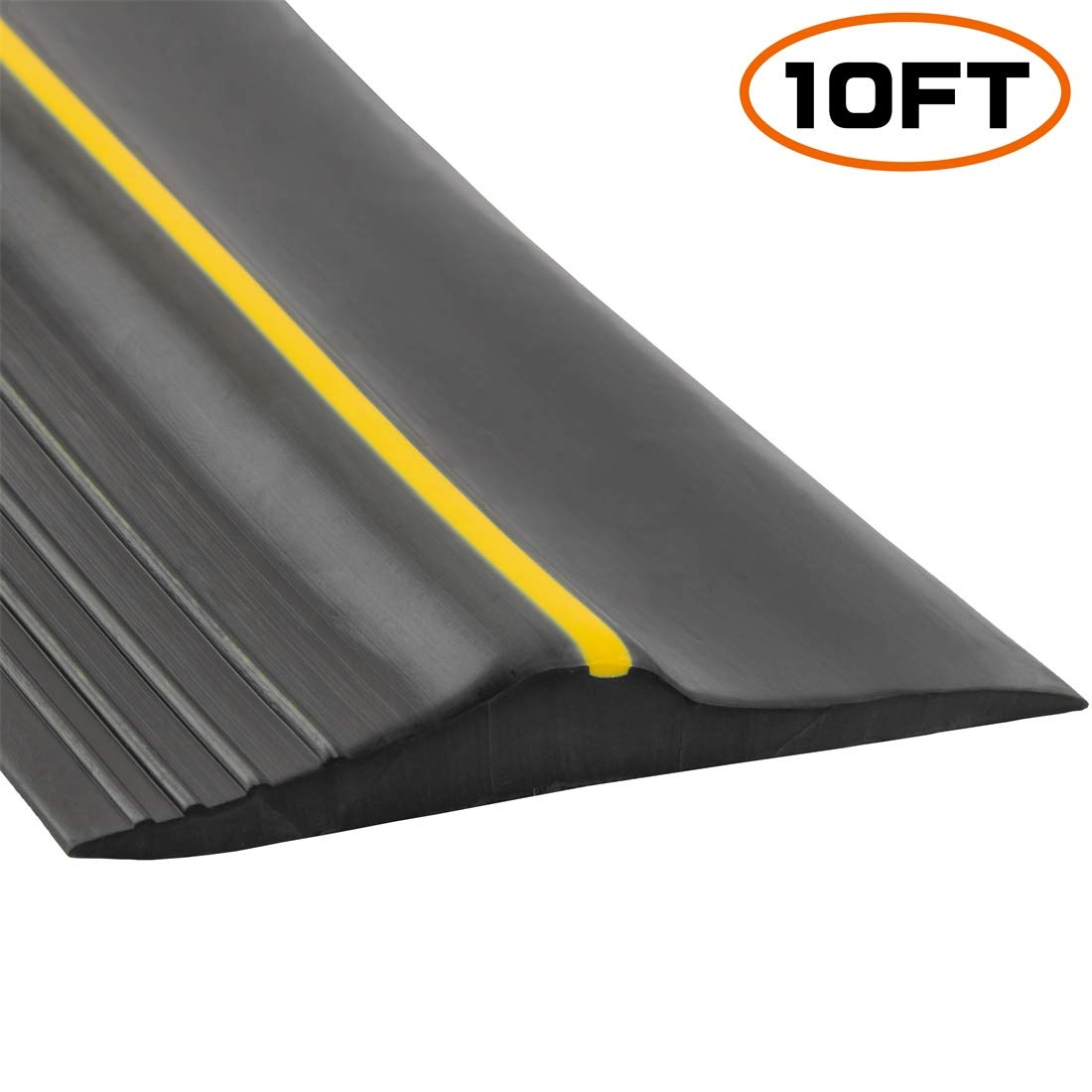 Universal Garage Door Bottom Threshold Seal Strip,Weatherproof Rubber DIY Weather Stripping Replacement, Not Include Sealant/Adhesive (10Ft, Black) by PAPILLON
