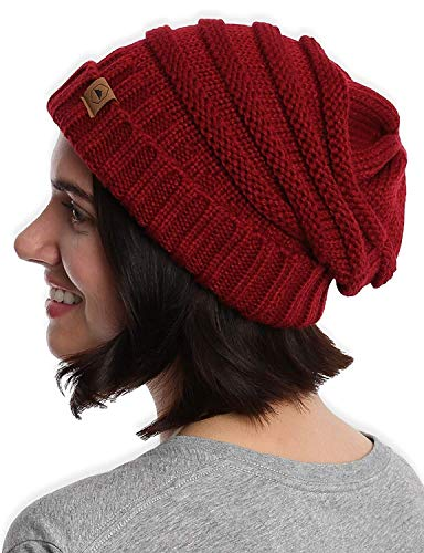 (Slouchy Cable Knit Cuff Beanie - Chunky, Oversized Slouch Beanie Winter Hats for Women - Stay Warm & Stylish - Serious Beanies for Serious Style)