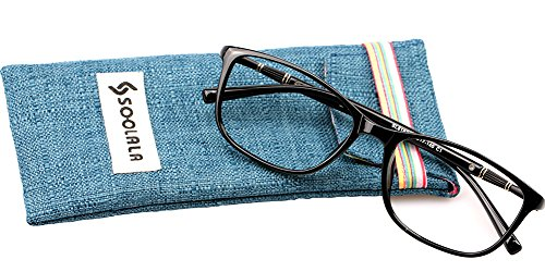SOOLALA Lightweight TR90 Full Frame Oversized Clear Lens Eyeglasses Reading Glasses, ShinyBlack, - Reading Glasses Wide Face