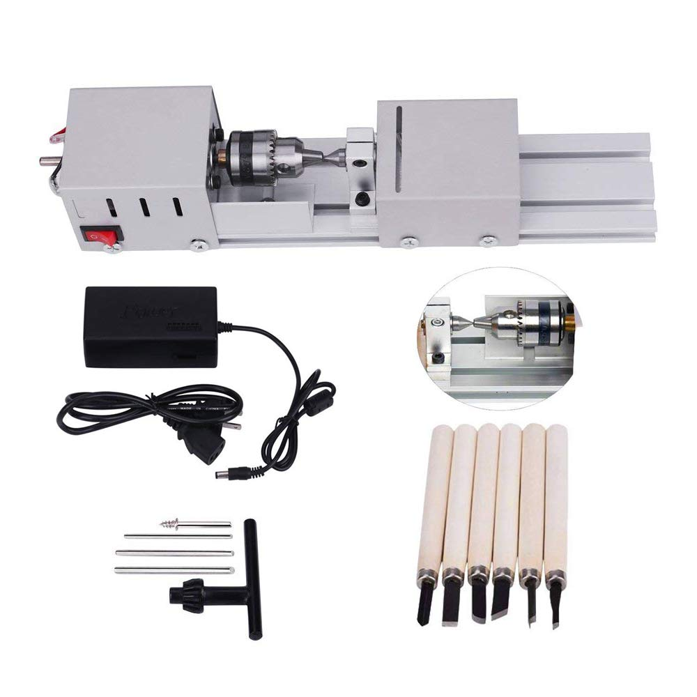 MYSWEETY DC 24V 80W Mini Lathe Beads Polisher Machine CNC Machining for Table Woodworking Wood DIY Tool Lathe Standard Set by MYSWEETY