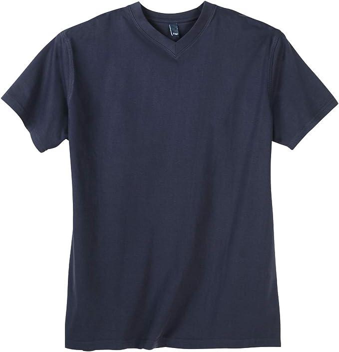Tallas Grandes Camiseta Azul Oscuro Cuello V DAVES: Amazon.es ...