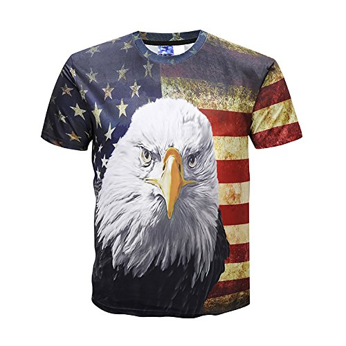 Eagle Unisex 3D Graphic American Flag Eagle Printed Casual Short Sleeve T Shirts Tees - Eagle Asian T-shirt