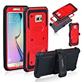Anyshock[Armor Series] Heavy Duty Shockproof Durable Full Body Protection Rigged Hybrid Case with Belt Clip Holster and Kickstand for Samsung Galaxy S6 Edge Plus(Free Screen Protector Included) (Red)