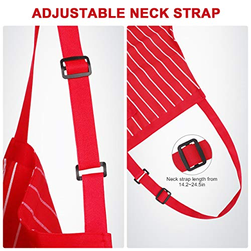 Syntus 2 Pack Adjustable Bib Apron with 3 Pockets Cooking Kitchen Aprons for BBQ Drawing, Women Men Chef, Red/White… 5