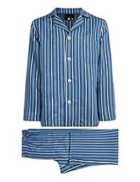 4877daea94 Armani International Pajama Set Striped Sateen Linen Cotton Blue Striped