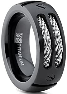 Ultimate Metals® Alianza de Boda Titanio Negro Para Hombre, Banda Anillo Incrustada Con Cables De Acero 8mm