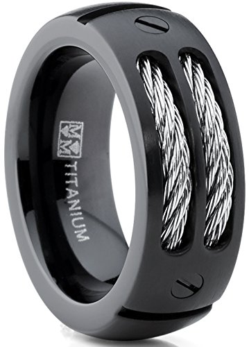 Cable Ring Titanium (Metal Masters Co. 8MM Men's Black Titanium Ring Wedding Band with Stainless Steel Cables and Screw Design Size 9.5)