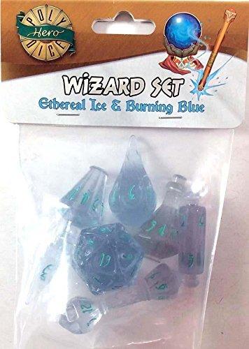PolyHero Dice: Wizard 7 dice Set: Ice/Blue (Set Wizard)