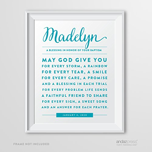 (Andaz Press Personalized Religious Wall Art Nursery Poster Sign, Girl or Boy Catholic Baptism May God Give You For Every Storm a Rainbow Blessing Gift Print, 1-Pack, Custom Made any Name and Color, For Kids Bedroom or Nursery Room)