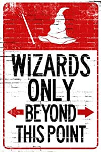 Wizards Only Beyond This Point Sign Poster - 13x19