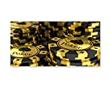 Lunarable Poker Tournament Wall Art, Yellow and Black Poker Chips in Gambling Club Currency Stack Wager Print, Gloss Aluminium Modern Metal Artwork for Wall Decor, 23.5 W X 11.6 L Inches, Yellow Black