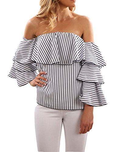 Ruffle Top Denim (BMJL Women's Striped Shirt Ruffle Off the Shoulder Tops Blouse)
