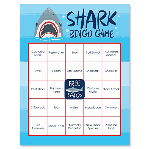 Big Dot of Happiness Shark Zone - Jawsome Shark Party Game Bingo Cards - 16 Count ()