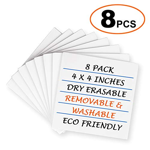 8 Pack Dry-Erase Sticky Notes, Reusable Self-Stick Whiteboard Stickies Stickers Note Pads for Office Classroom Home 4 Inch x 4 Inch