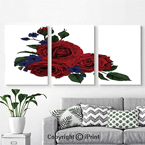 Modern Salon Theme Mural Blooming Red Roses with Gentle Wild Flowers Leaves Bouquet Corsage Decorative Painting Canvas Wall Art for Home Decor 24x36inches 3pcs/Set, Ruby Violet Blue Hunter Green