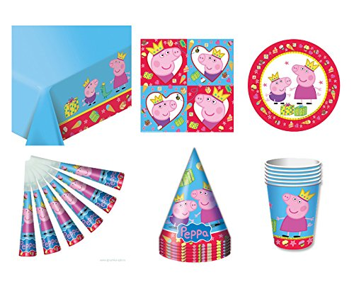 Rosman Set for Children's Holiday Peppa Pig, Cartoon Characters, Party Ware, Hats, Pipes, Plates, Tablecloth