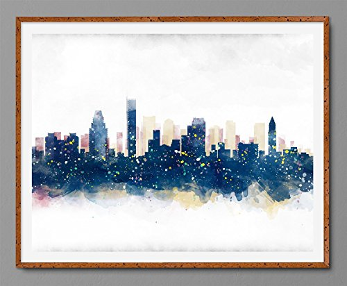 Boston Cityscape – Massachusetts Skyline Watercolor Art Print Poster Boho Chic
