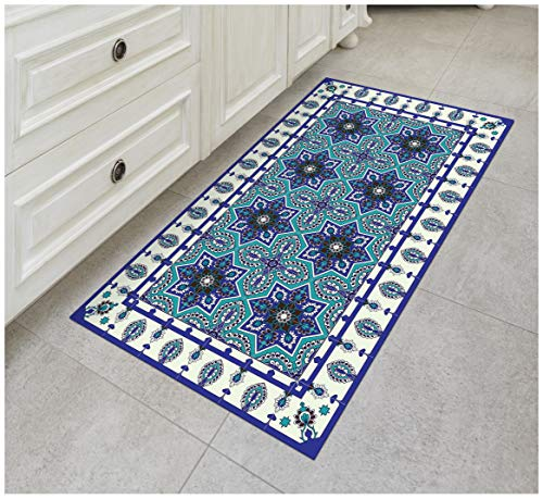 Tiva Design Eastern Star Vinyl Floor Mat: Decorative Linoleum PVC Rug Runner Tile Flooring in 12 Choices, Colorful, Durable, Anti-Slip, Hand Washable, and Protects Floors 47.2