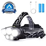 15000 Lumens Headlamp Rechargable Waterproof Flashlight with 5 Cree LEDs and 6 Modes