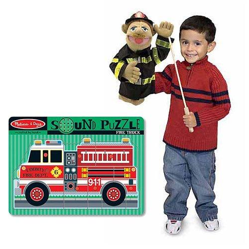 Melissa & Doug Firefighter Pack -Fire Truck Puzzle & Firefighter Puppet (Walter The Puppet)