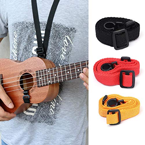 AKOAK 3 Pcs Adjustable Nylon Round Hook Strap, Ukulele Small Guitar Hanging Neck Strap, Durable Guitar Accessories