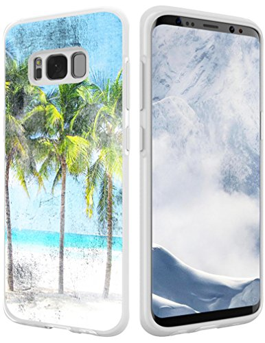 S8 Plus Case Beach,Hungo Soft TPU Silicone Protective Cover Compatible with Samsung Galaxy S8 Plus Beach Coconut Palm Tree Beach Retro ()