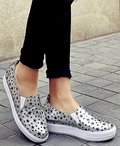 Easemax - Donna Casual A Punta Tonda Slip On Low Cut Star Shoes Sneakers Moda Elastiche Grigie