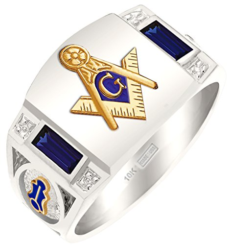 Men's Customizable Solid Back Two Tone 10K White Gold Freemason Masonic Ring
