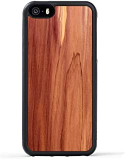 product image for iPhone 5 / 5s / SE Cedar Wood Traveler Case by Carved, Unique Real Wooden Phone Cover (Rubber Bumper, Fits Apple iPhone 5 / 5s / SE)
