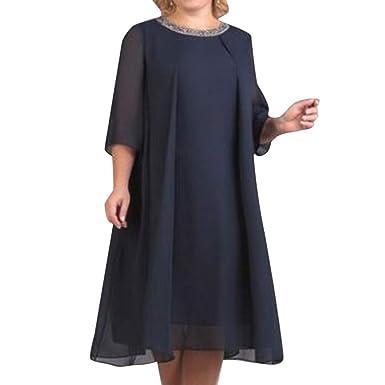 online retailer e06e3 9253c DEELIN Taglia Grossa Abito Donna Chiffon O-Scollo Solido ...