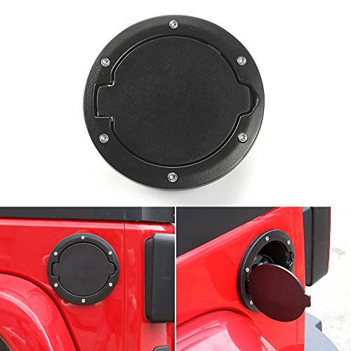 (JeCar Aluminum Gas Cap Fuel Filler Door Cover for Jeep Wrangler 2007-2018 JK & Unlimited Accessories (Black))