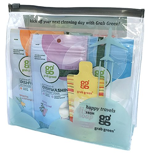 (Grab Green Travel Size Natural Cleaning Kit, 7 Piece with Reusable TSA Travel Bag)