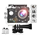 Sports Action Camera WeyTy X6S 4K 30m Underwater Camera 16MP WiFi Sport Camera 170°Wide Angle Waterproof Camera with 2x1350 mAh Rechargeable Batteries and Full Accessories Compatible with GoPro