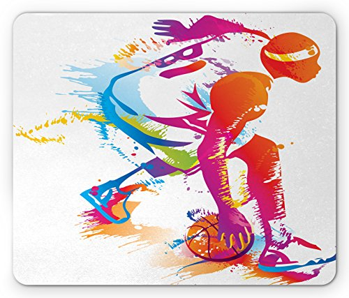 (Lunarable Sports Mouse Pad, Basketball Player Silhouettes with Paint Splashes Shooting The 3 Pointer Moment, Standard Size Rectangle Non-Slip Rubber Mousepad, Multicolor)