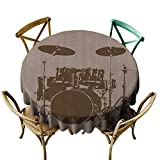 Bass Drum Coffee Table StarsART Round Tablecloth Music Decor,Grunge Drum Kit for Bass Rythm Lovers Ba Dum TSS Image Sketchy Art,Purple Grey and Black D70,Resistant Tablecloth