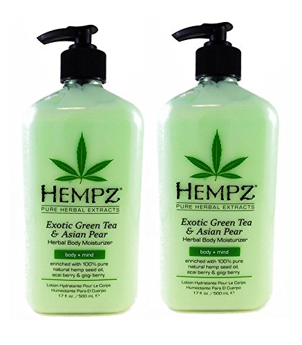 Hempz Exotic Herbal Body Moisturizer, Green Tea and Asian Pear,- Pack of 2 (17oz) + Buy 3 Pack get FREE 4 Fanta Sea Disposable Head Bands ()