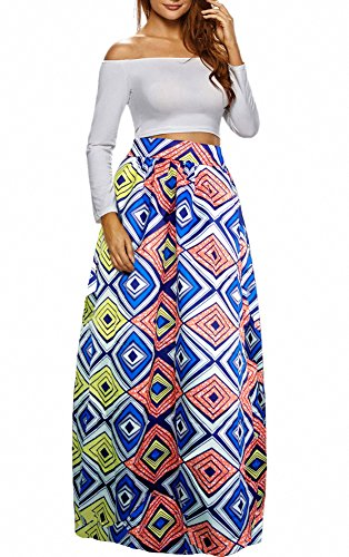 - Afibi Women African Printed Casual Maxi Skirt Flared Skirt Multisize A Line Skirt (X-Large, Pattern 2)