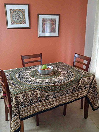 Handmade Beautiful Paisley Mandala Floral Print 100% Cotton Tablecloth Tapestry 64