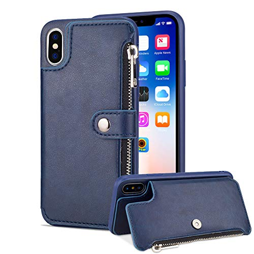 Aearl iPhone XS Max Zipper Wallet Case,iPhone XS Max Leather Case With Card Holder,Apple iPhone XS Max Flip Folio Credit Card Slot Money Pocket Magnetic Detachable Buckle Phone Case For Women Men-Blue by Aearl