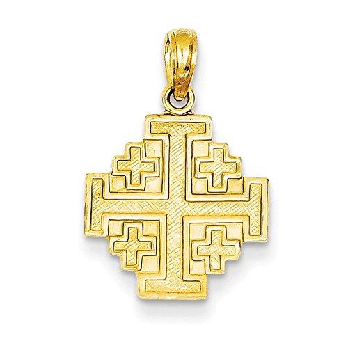 14k Yellow Gold Jerusalem Cross Pendant C3832 (Cross Jerusalem Gold Yellow 14k)