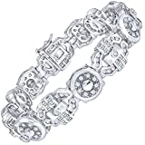 Men's Sterling Silver .925 Bracelet with 231 Channel Set Fancy Baguette and Round Cubic Zirconia (CZ) Stones, Box Lock, Original Design, Platinum Plated. 9''