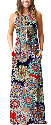 - Blue Tribal Women Sleeveless Tunic Vintage Summer Casual Maxi Long Dress Pocket