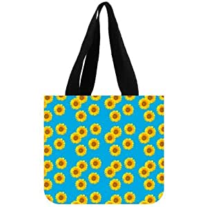 "12.2"" x 11"" x 3.3"" Sunflower Large Roomy Canvas Tote Purse Beach Travel Bag (two sides)"
