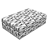 Lunarable Sketch Pet Bed, Jumping Running Cartoon Mascot Character Climbing The Hanging Rope Ladder Stairway, Animal Mat Foam and Stylish Printed Cover, 24'' x 16'' x 6'', Black White