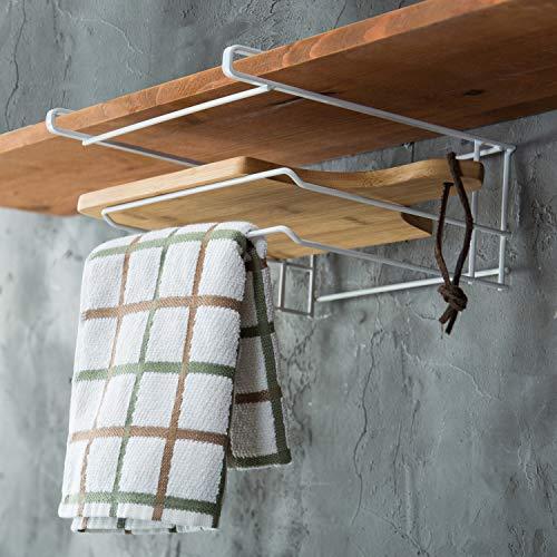 - MyGift White Metal Under-Cabinet Cutting Board Storage Rack
