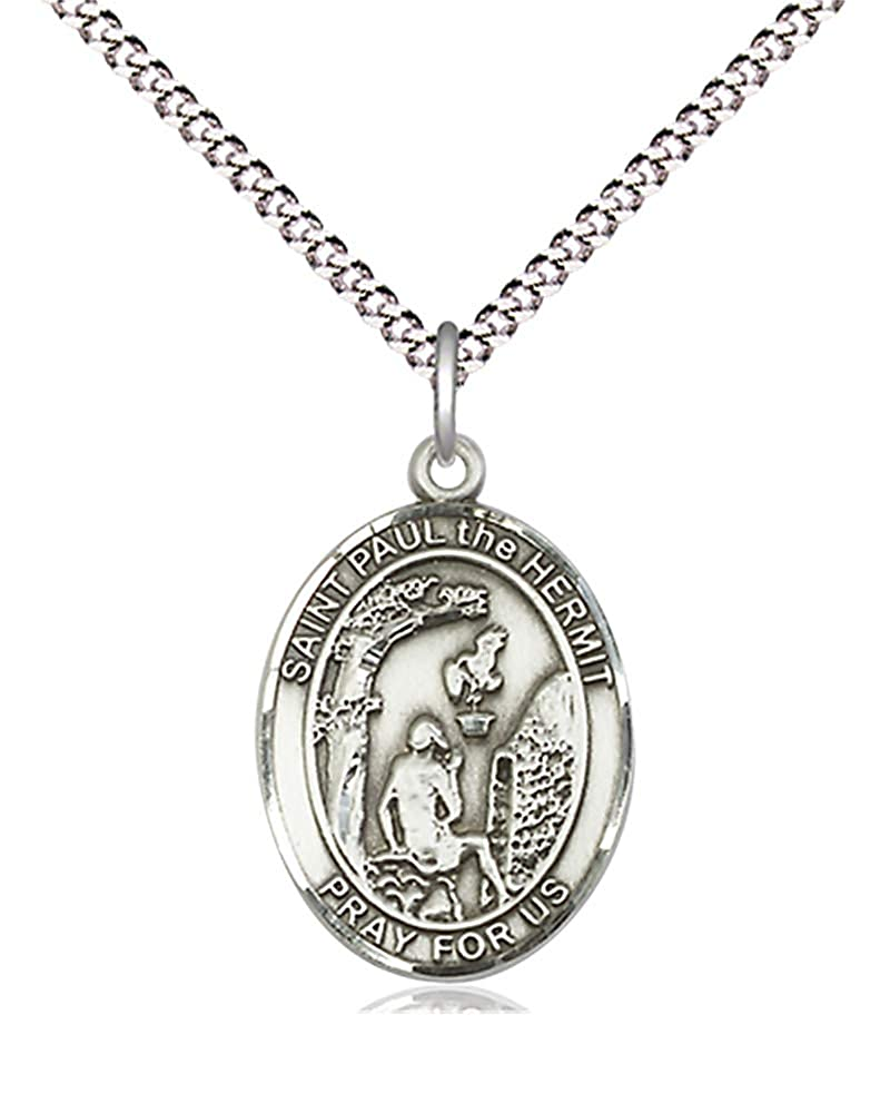 680058ca404 Amazon.com  Hail Mary Gifts Pewter Paul The Hermit Pendant 18 inch Light  Rhodium Light Curb Chain Patron Saint 3 4 x 1 2  Jewelry