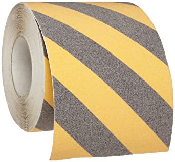 """Brady 60' Length, 6"""" Width, B-916 Grit-Coated Polyester Tape, Striped Special Black And Yellow Color Anti-Skid Tape"""
