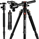 "Horizontal Arm Professional Camera Tripod & Monopod – Portable Tripod Stand with 360° Ball Head – 67"" DSLR Tripod for Video – Lightweight Aluminum Travel Tripod"