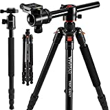 "Photo : Horizontal Arm Professional Camera Tripod & Monopod – Portable Tripod Stand with 360° Ball Head – 67"" DSLR Tripod for Video – Lightweight Aluminum Travel Tripod"
