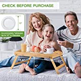 Bamboo Bed Tray Table With Foldable Legs, Breakfast